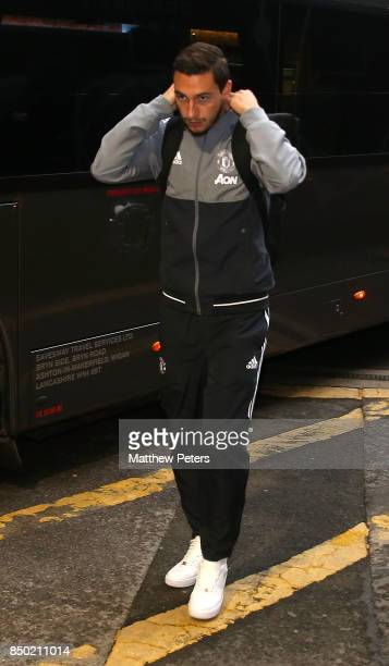 Matteo Darmian of Manchester United arrives ahead of the Carabao Cup Third Round between Manchester United and Burton Albion at Old Trafford on...