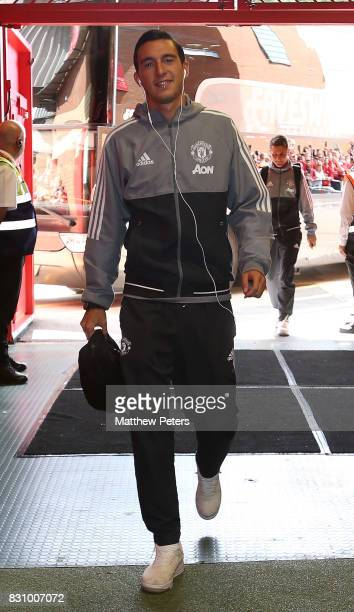 Matteo Darmian of Manchester United arrives ahead of the Premier League match between Manchester United and West Ham United at Old Trafford on August...