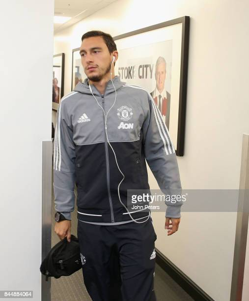 Matteo Darmian of Manchester United arrives ahead of the Premier League match between Stoke City and Manchester United at Bet365 Stadium on September...