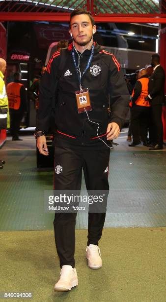 Matteo Darmian of Manchester United arrives ahead of the UEFA Champions League group A match between Manchester United and FC Basel at Old Trafford...