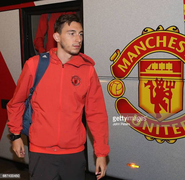 Matteo Darmian of Manchester United arrives for a walk on the pitch ahead of the UEFA Europa League Final at Friends Arena on May 23 2017 in...