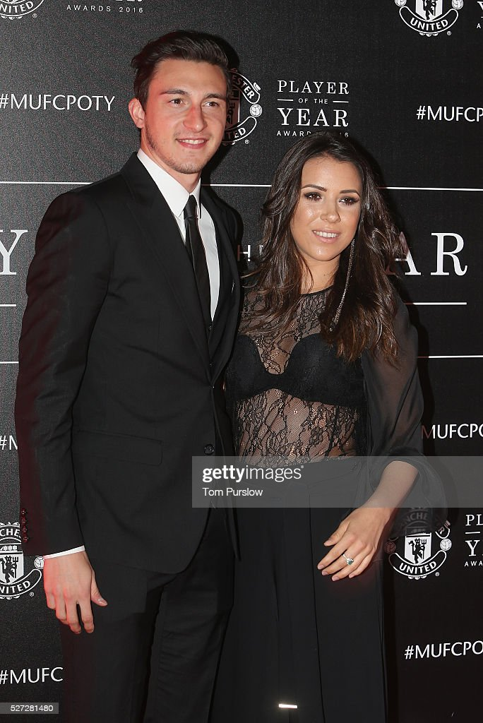 Matteo Darmian of Manchester United arrives with his partner at the club's annual Player of the Year awards at Old Trafford on May 2, 2016 in Manchester, England.