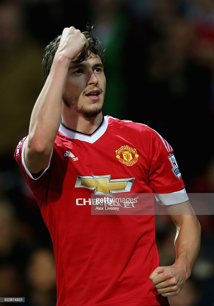 <a gi-track='captionPersonalityLinkClicked' href=/galleries/search?phrase=Matteo+Darmian&family=editorial&specificpeople=7096006 ng-click='$event.stopPropagation()'>Matteo Darmian</a> of Manchester United celebrates after scoring his sides second goal during the Barclays Premier League match between Manchester United and Crystal Palace at Old Trafford on April 20, 2016 in Manchester, England.