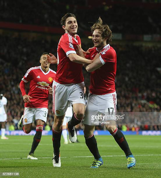 Matteo Darmian of Manchester United celebrates scoring their second goal during the Barclays Premier League match between Manchester United and...