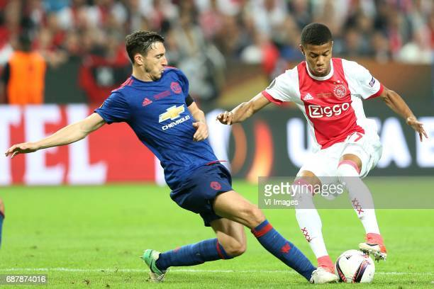 Matteo Darmian of Manchester United David Neres of Ajaxduring the UEFA Europa League final match between Ajax Amsterdam and Manchester United at the...