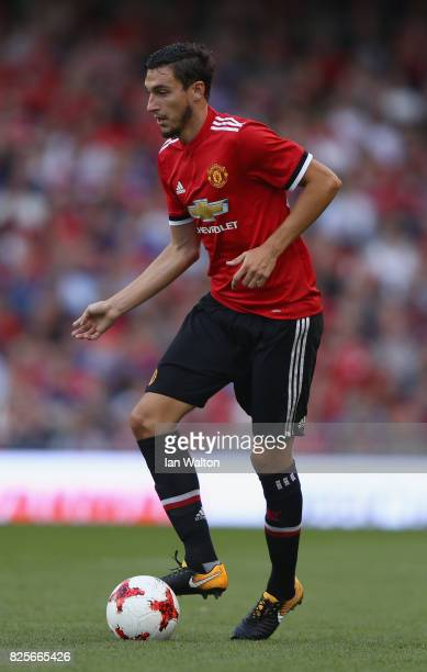 Matteo Darmian of Manchester United during the International Champions Cup match between Manchester United and Sampdoria at Aviva Stadium on August 2...