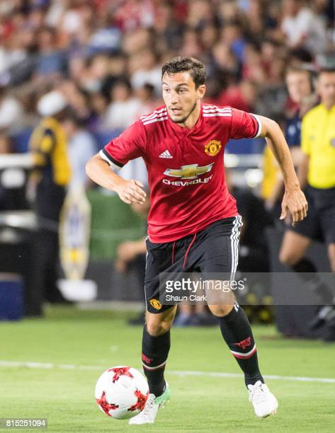 Matteo Darmian of Manchester United during the Los Angeles Galaxy's friendly match against Manchester United at the StubHub Center on July 15 2017 in...