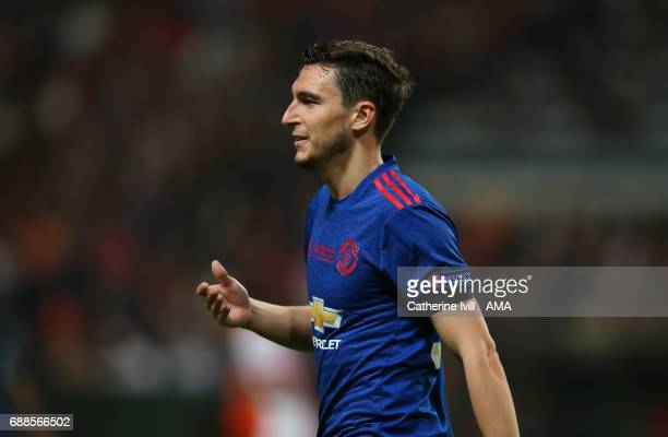 Matteo Darmian of Manchester United during the UEFA Europa League Final match between Ajax and Manchester United at Friends Arena on May 24 2017 in...
