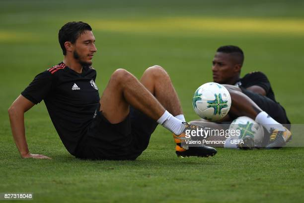 Matteo Darmian of Manchester United FC in action during the training session ahead of the UEFA Super Cup between Real Madrid and Manchester United at...