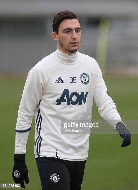 Matteo Darmian of Manchester United in action during a first team training session at Aon Training Complex on February 8 2017 in Manchester England