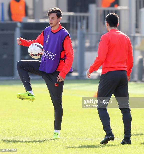 Matteo Darmian of Manchester United in action during a first team training session at Olimp2 on March 8 2017 in RostovonDon Russia