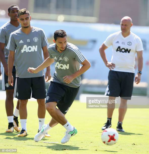 Matteo Darmian of Manchester United in action during a first team training session as part of their preseason tour of the USA at UCLA on July 14 2017...
