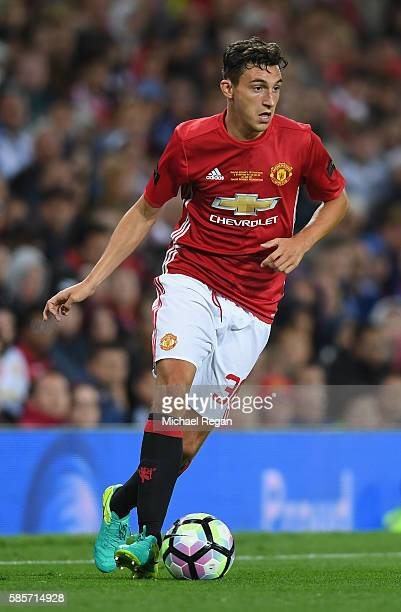 Matteo Darmian of Manchester United in action during the Wayne Rooney Testimonial match between Manchester United and Everton at Old Trafford on...