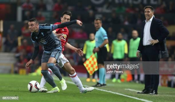 Matteo Darmian of Manchester United in action with Iago Aspas of Celta Vigo during the UEFA Europa League semi final second leg match between...