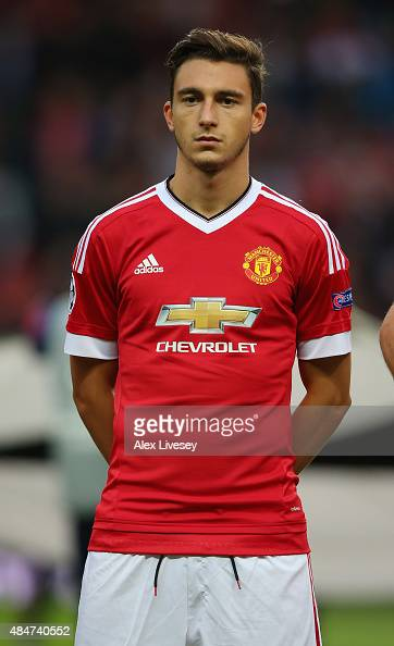 Matteo Darmian of Manchester United lines up prior to the UEFA Champions League Qualifying Round Play Off First Leg match between Manchester United...