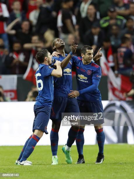Matteo Darmian of Manchester United Paul Pogba of Manchester United Henrikh Mkhitaryan of Manchester Unitedduring the UEFA Europa League final match...