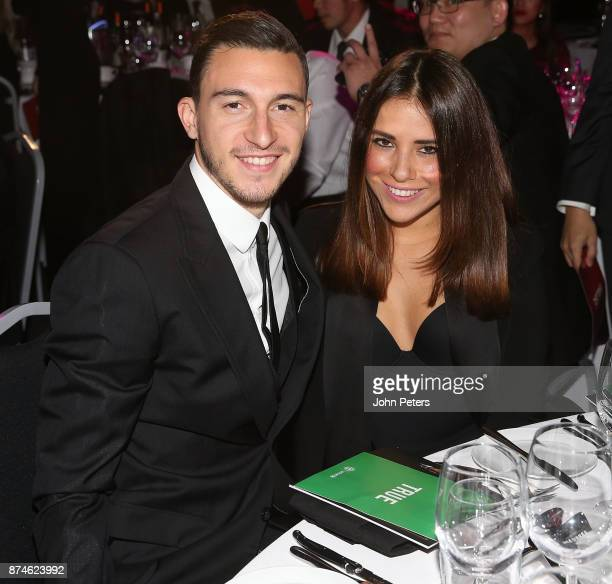 Matteo Darmian of Manchester United poses with his wife Francessca Darmian at the annual United for UNICEF gala dinner at Old Trafford on November 15...