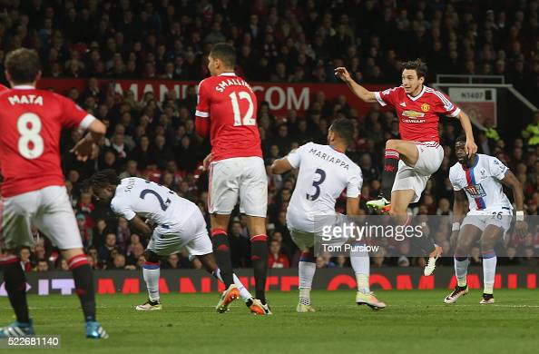 Matteo Darmian of Manchester United scores their second goal during the Barclays Premier League match between Manchester United and Crystal Palace at...