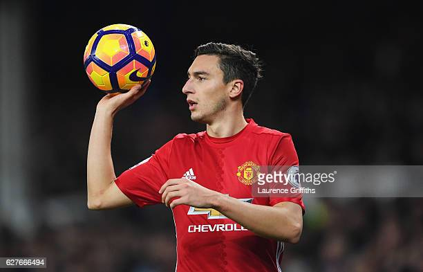 Matteo Darmian of Manchester United takes a thrown in during the Premier League match between Everton and Manchester United at Goodison Park on...