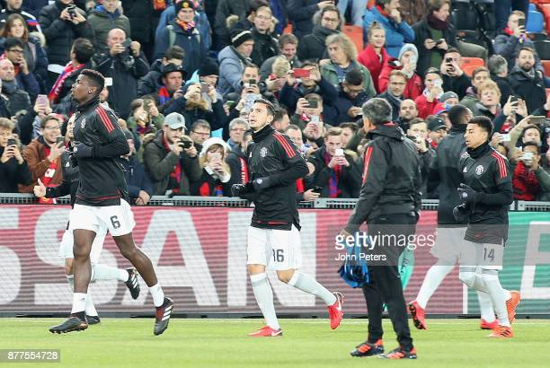 Matteo Darmian of Manchester United warms up ahead of the UEFA Champions League group A match between FC Basel and Manchester United at St JakobPark...