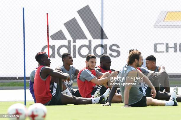 Matteo Darmian of the Manchester United stretches during a training session for Tour 2017 at UCLA's Drake Stadium July 10 in Los Angeles California