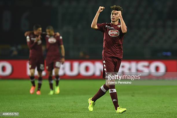 Matteo Darmian of Torino FC celebrates after scoring the opening goal during the Serie A match between Torino FC and Parma FC at Stadio Olimpico di...