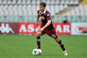 Matteo Darmian of Torino FC in action during the Serie A match between Torino FC and Udinese Calcio at Stadio Olimpico di Torino on April 27 2014 in...