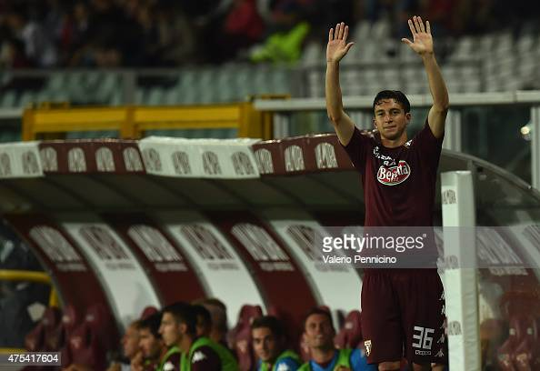 Matteo Darmian of Torino FC salutes the fans during the Serie A match between Torino FC and AC Cesena at Stadio Olimpico di Torino on May 31 2015 in...