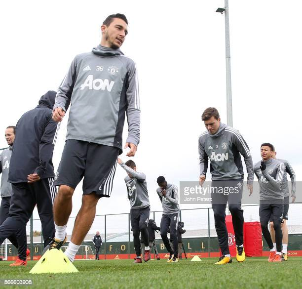 Matteo Darmian Victor Lindelof and Jesse Lingard of Manchester United in action during a first team training session at Aon Training Complex on...