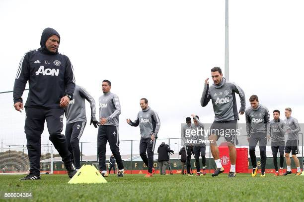 Matteo Darmian Victor Lindelof Chris Smalling Daley Blind and Jesse Lingard of Manchester United in action during a first team training session at...