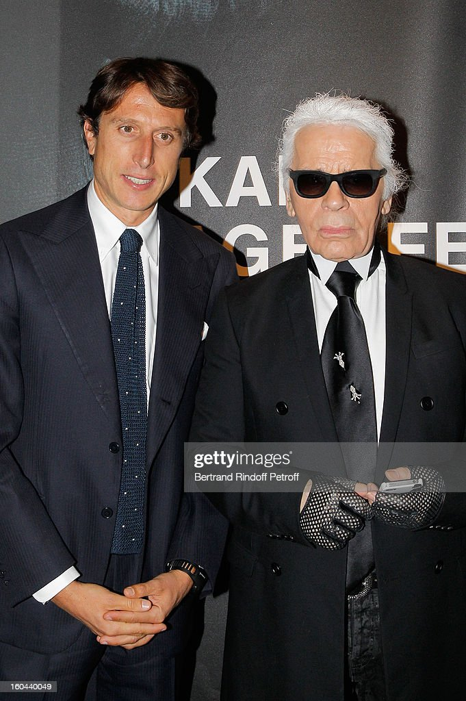 Matteo di Montezemolo and Karl Lagerfeld attend the Karl Lagerfeld Photo Exhibition Preview at the Showroom Cassina on January 31, 2013 in Paris, France.