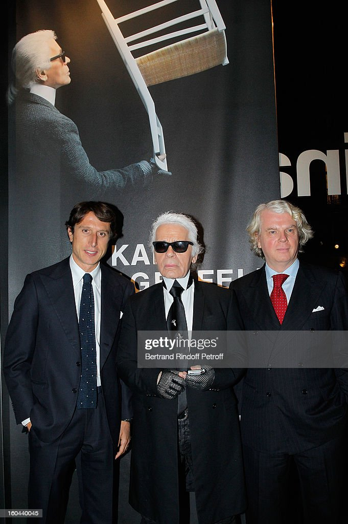 Matteo di Montezemolo, Karl Lagerfeld and Dario Rinero attend the Karl Lagerfeld Photo Exhibition Preview at the Showroom Cassina on January 31, 2013 in Paris, France.