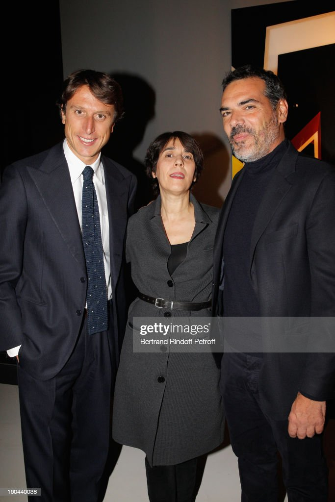 Matteo di Montezemolo,Marie Kalt and Gianlula Armento attend the Karl Lagerfeld Photo Exhibition Preview at the Showroom Cassina on January 31, 2013 in Paris, France.
