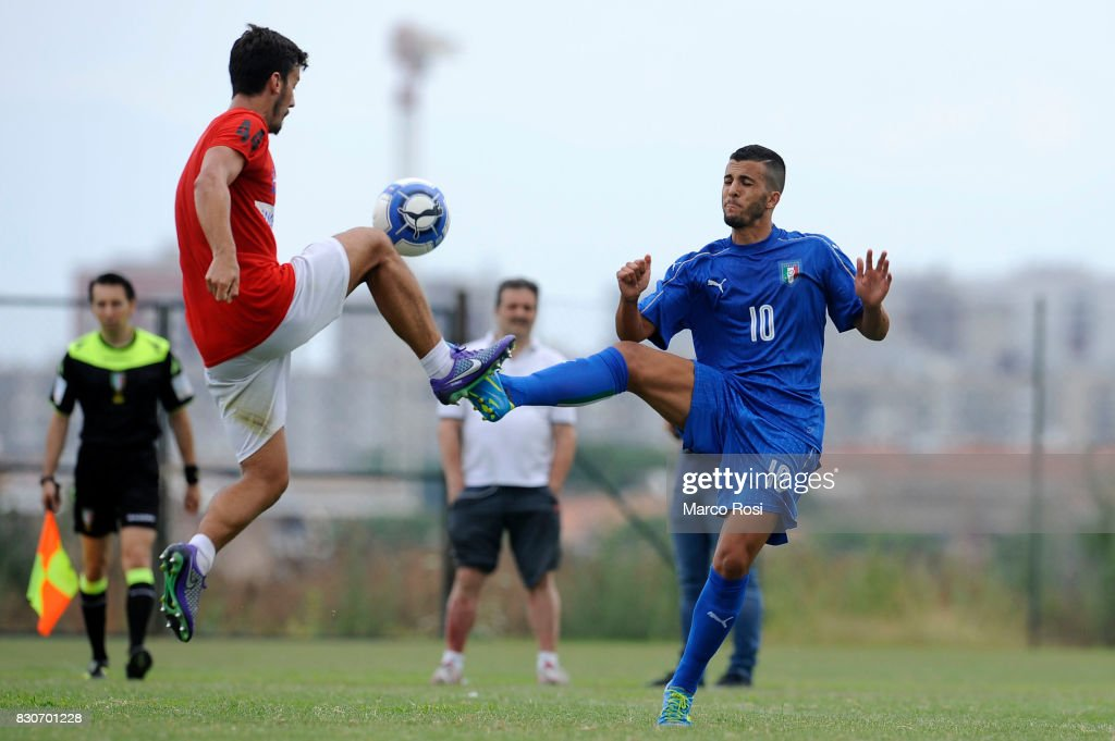 Matteo Faiola of Italy during the frienldy match between Italy University and ASD Audace on August 12, 2017 in Rome, Italy.