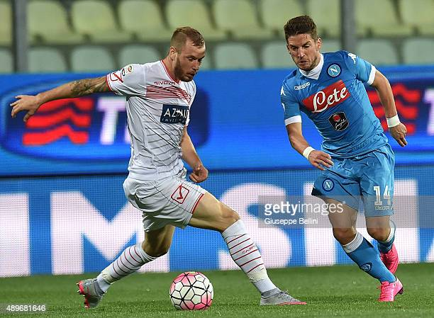 Matteo Fedele of Carpi and Dries Mertens of Napoli in action during the Serie A match between Carpi FC and SSC Napoli at Alberto Braglia Stadium on...