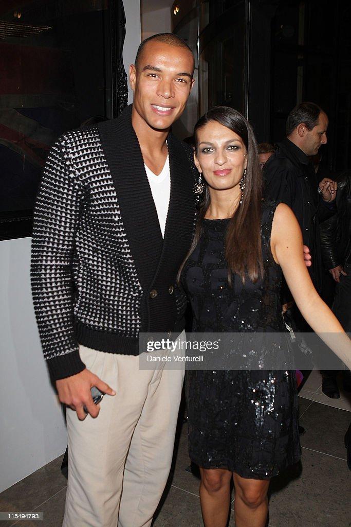 Matteo Ferrari and Alessandra Moschillo attend John Richmond Cocktail as part of the Paris Womenswear Fashion Week Spring/Summer 2010 at John...