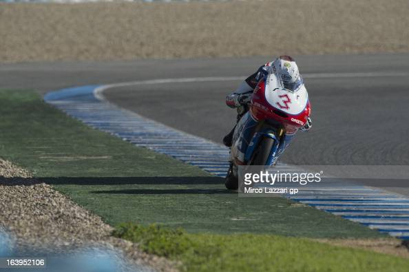 Matteo Ferrari of Italy and OngettaCentro Seta heads down a straight during the Moto2 and Moto3 Tests In Jerez Day 1 at Circuito de Jerez on March 18...