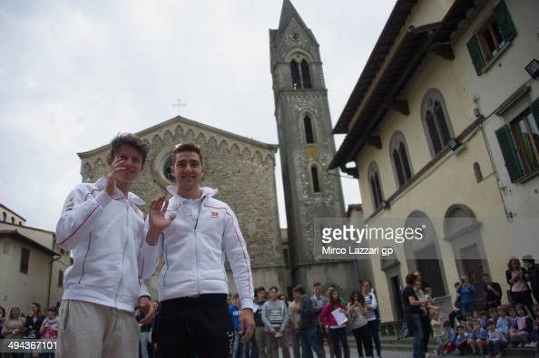 Matteo Ferrari of Italy and San Carlo Team Italia and Andrea Locatelli of Italy and San Carlo Team Italia pose during the preevent 'Inflorata in...