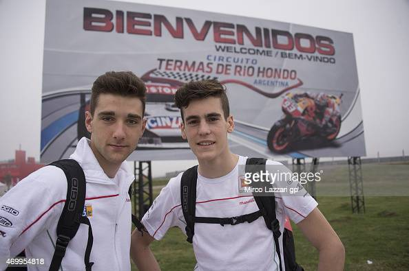 Matteo Ferrari of Italy and San Carlo Team Italia and Stefano Manzi of Italy and San Carlo Team Italia pose in front of the gate of paddock during...
