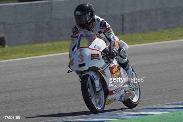Matteo Ferrari of Italy and San Carlo Team Italia heads down a straight during the Moto2 and Moto3 Tests in Jerez Day One at Circuito de Jerez on...