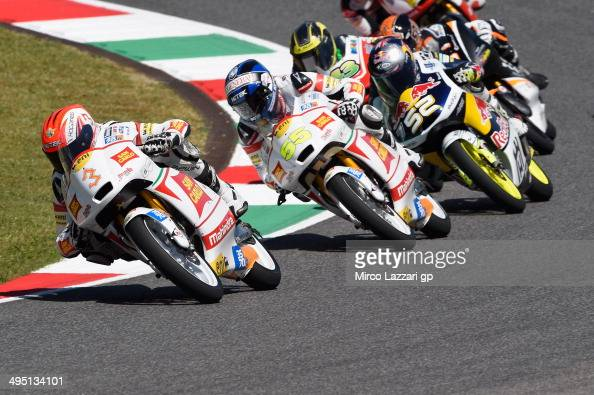 Matteo Ferrari of Italy and San Carlo Team Italia leads the field during the Moto3 race during the MotoGp of Italy Race at Mugello Circuit on June 1...