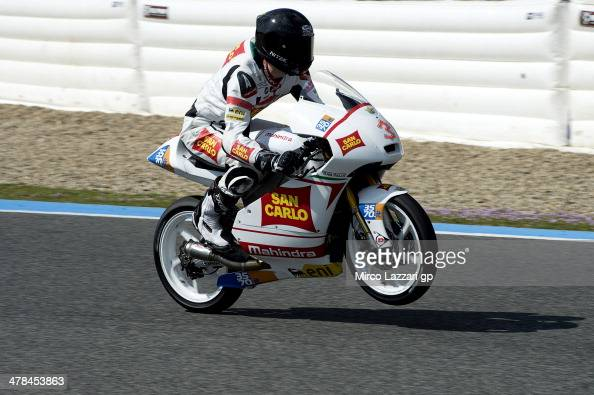 Matteo Ferrari of Italy and San Carlo Team Italia lifts the front wheel during the Moto2 and Moto3 Tests in Jerez Day Three at Circuito de Jerez on...