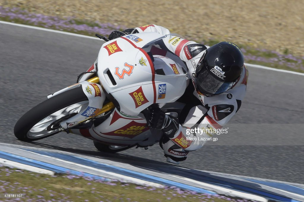 Matteo Ferrari of Italy and San Carlo Team Italia rounds the bend during the Moto2 and Moto3 Tests in Jerez Day Two at Circuito de Jerez on March 12...