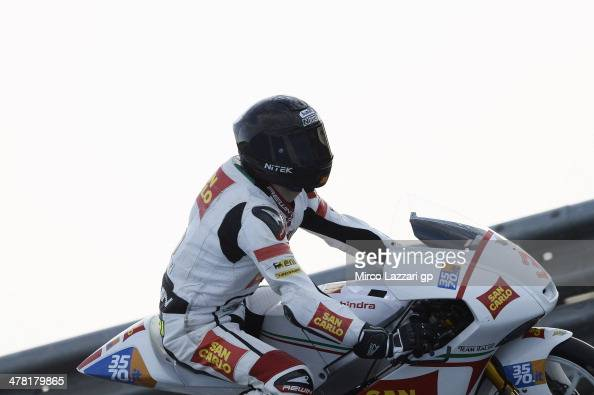 Matteo Ferrari of Italy and San Carlo Team Italia starts from box during the Moto2 and Moto3 Tests in Jerez Day Two at Circuito de Jerez on March 12...