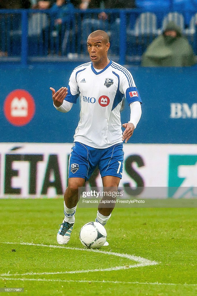 Matteo Ferrari of the Montreal Impact controls the ball during the MLS match against the Sporting KC at Saputo Stadium on September 22 2012 in...