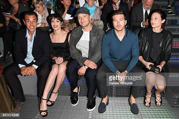 Matteo Garrone Micaela Ramazzotti Claudio Santamaria Alessandro Roja and Claudia Ranieri attends the Prada show during Milan Men's Fashion Week SS17...