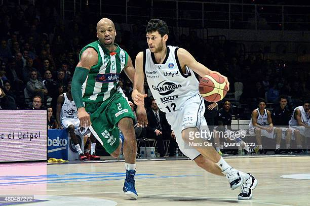 Matteo Imbro of Granarolo competes with Sundiata Gaines of Sidigas during tha LegaBasket Serie A1 match between Virtus Granarolo Bologna vs Sidigas...