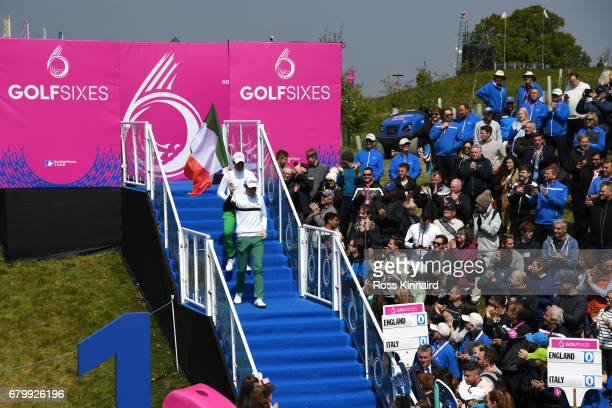Matteo Manassero and Renato Paratore of Italy descend to the 1st tee prior to the quarter final match between England and Italy during day two of...
