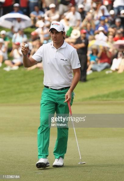 Matteo Manassero of Italy celebrates after winning of the Maybank Malaysian Open at Kuala Lumpur Golf Country Club on April 17 2011 in Kuala Lumpur...