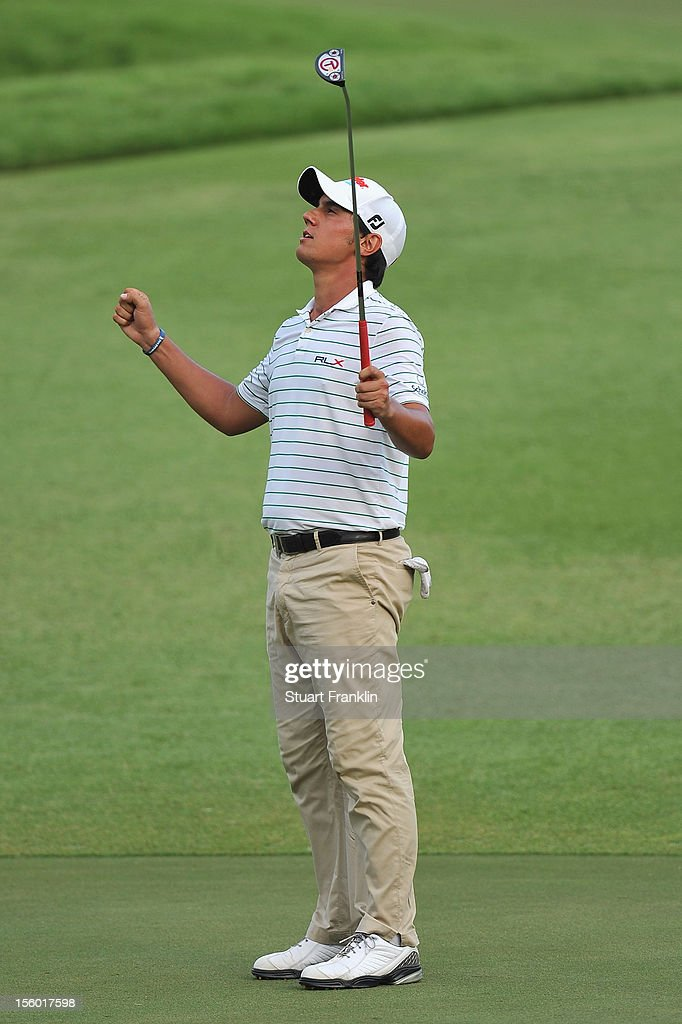 <a gi-track='captionPersonalityLinkClicked' href=/galleries/search?phrase=Matteo+Manassero&family=editorial&specificpeople=4479535 ng-click='$event.stopPropagation()'>Matteo Manassero</a> of Italy celebrates holeing his eagle putt during the third playoff hole after the final round of the Barclays Singapore Open at the Sentosa Golf Club on November 11, 2012 in Singapore.